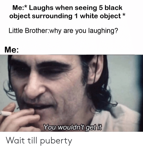 Puberty: Me:* Laughs when seeing 5 black  object surrounding 1 white object  Little Brother why are you laughing?  Me:  You wouldn't get it Wait till puberty