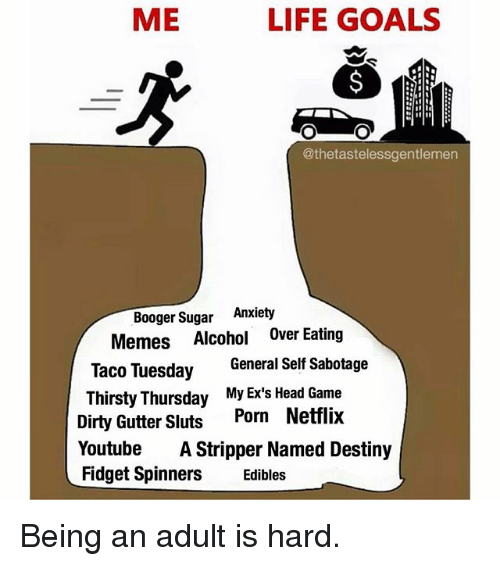 Adulter: ME  LIFE GOALS  @thetastelessgentlemen  Booger Sugar Anxiety  Memes Alcohol Over Eating  Taco Tuesday General Self Sabotage  Thirsty Thursday My Ex's Head Game  Dirty Gutter Sluts Porn Netflix  YoutubeA Stripper Named Destiny  Fidget SpinnersEdibles Being an adult is hard.
