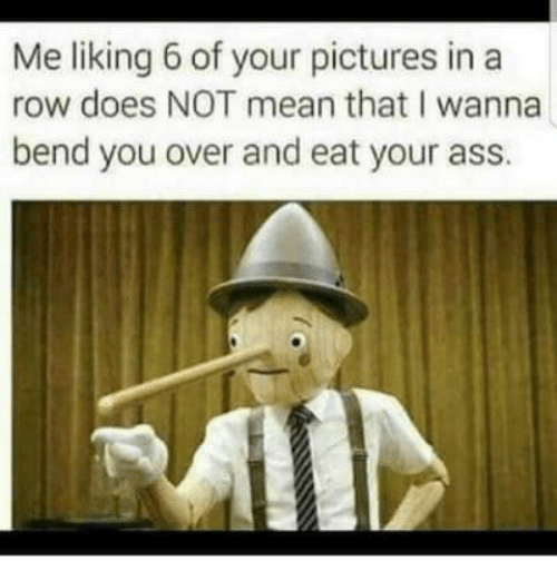 Ass, Mean, and Pictures: Me liking 6 of your pictures in a  row does NOT mean that I wanna  bend you over and eat your ass.