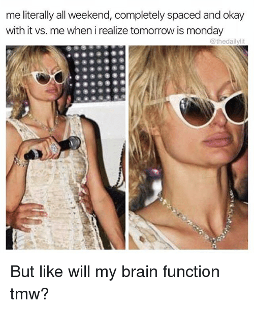 Memes, Brain, and Okay: me literally all weekend, completely spaced and okay  with it vs. me when i realize tomorrow is monday  @thedailylit But like will my brain function tmw?