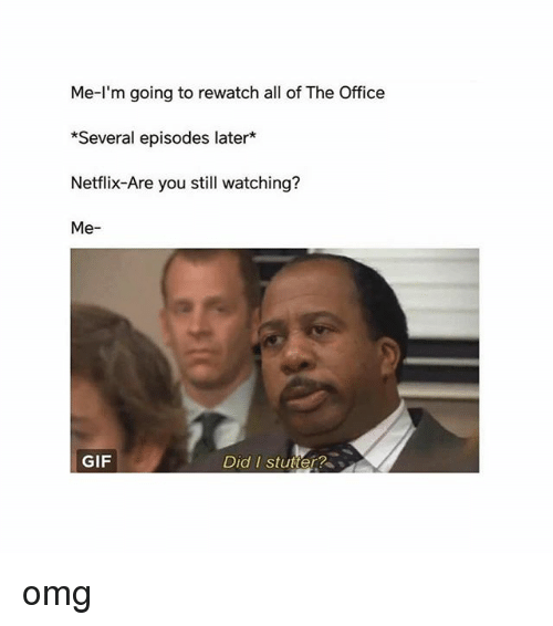 Gif, Memes, and Netflix: Me-l'm going to rewatch all of The Office  *Several episodes later*  Netflix-Are you still watching?  Me-  GIF  Did I stutter? omg