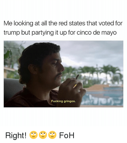 Foh, Fucking, and Cinco De Mayo: Me looking at all the red states that voted for  trump but partying it up for cinco de mayo  Fucking gringos. Right! 🙄🙄🙄 FoH