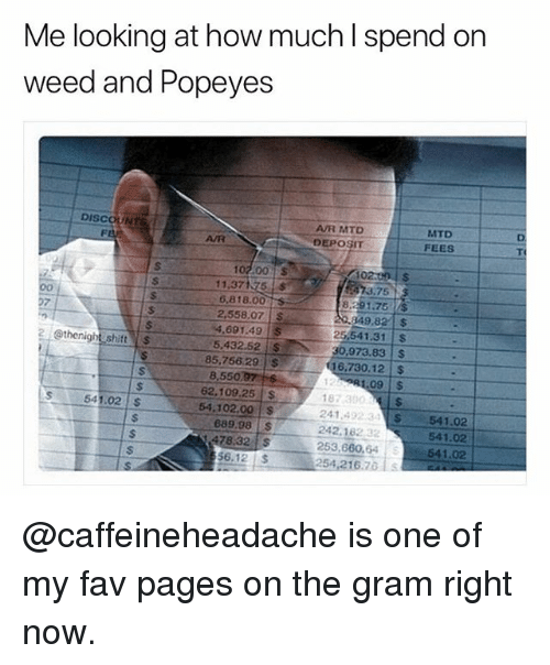 Popeyes, Shit, and Weed: Me looking at how much l spend on  weed and Popeyes  DISCOUNT  AR MTD  DEPOSIT  MTD  FEES  AVR  102 00S  11.37175  6,818.00  2,558,07S  4.691.49 $  5,432.52 S  73.75  8,291.75 S  49.82S  25,541.31 S  30,973.83 $  16,730.12 $  1.09 $  2 @thenight shit $  85,756.29S  8,550  62.109.25 S  54.102.00$  187 300  241 492 3$ 541.02  242.162  253,660.64541.02  254,216.7  541.02  689.98 S  47832  541.02  56.12$  254216.761s @caffeineheadache is one of my fav pages on the gram right now.