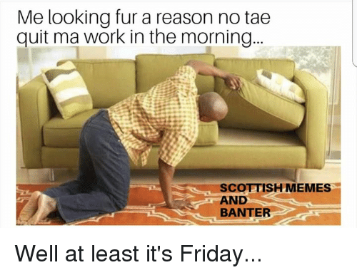 Friday, It's Friday, and Memes: Me looking fur a reason no tae  quit ma work in the morning..  SCOTTISH MEMES  AND  BANTER Well at least it's Friday...