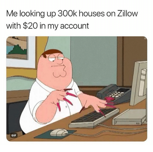Gif, Humans of Tumblr, and Looking: Me looking up 300k houses on Zillow  with $20 in my account  GIF