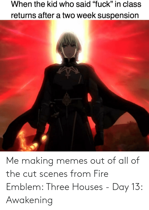 scenes: Me making memes out of all of the cut scenes from Fire Emblem: Three Houses - Day 13: Awakening