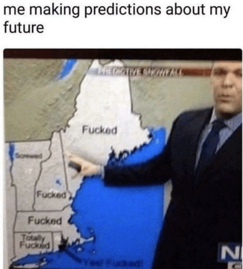 Predictions: me making predictions about my  future  PRECICIVE SIOHE  Fucked  Fucked  Fucked  Totaly  Fucked  l Fudked  N4