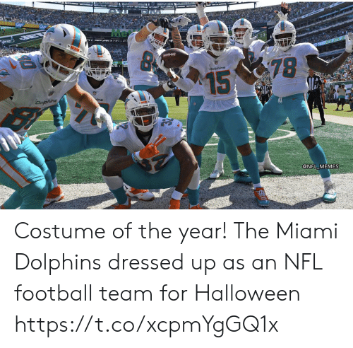 Nfl Football: Me  MIAS  Doline  78  Dolphins  15  Dofphins  @NFL MEMES Costume of the year! The Miami Dolphins dressed up as an NFL football team for Halloween https://t.co/xcpmYgGQ1x