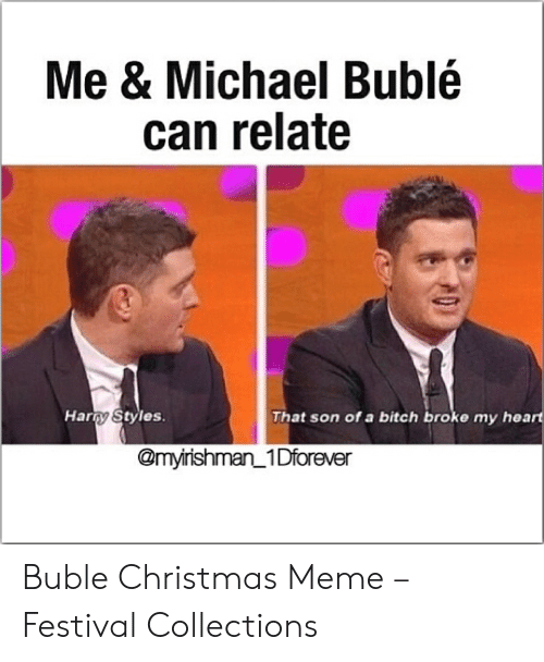 Buble Christmas: Me & Michael Bublé  can relate  Harry Styles  That son of a bitch broke my heart  @myirishman 1Dforever Buble Christmas Meme – Festival Collections