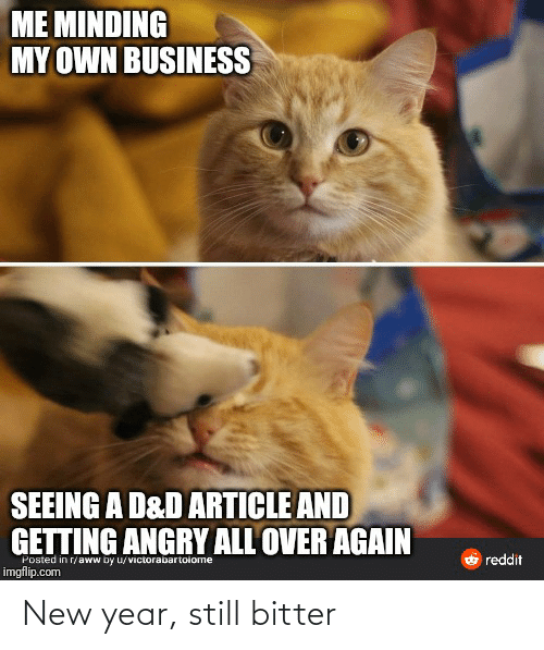 minding my own business: ME MINDING  MY OWN BUSINESS  SEEING A D&D ARTICLE AND  GETTING ANGRY ALL OVER AGAIN  O reddit  Posted in r/aww by u/victorabartoiome  imgflip.com New year, still bitter
