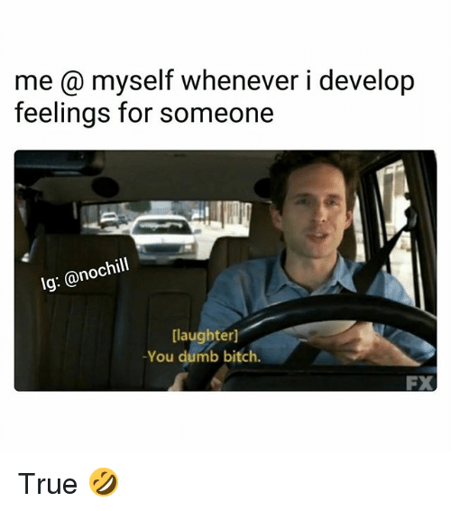 dumb bitches: me @ myself whenever i develop  feelings for someone  Ig: @nochill  [laughterl  -You dumb bitch.  FX True 🤣