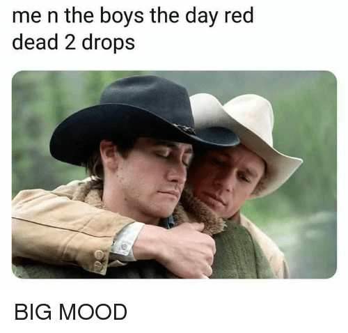 Mood, Dank Memes, and Boys: me n the boys the day red  dead 2 drops BIG MOOD
