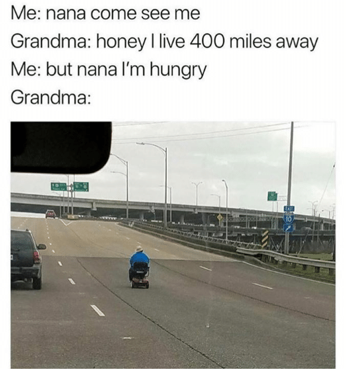 Dank, Grandma, and Hungry: Me: nana come see me  Grandma: honey I live 400 miles away  Me: but nana I'm hungry  Grandma:  四