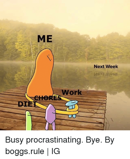 Dank, Work, and 🤖: ME  Next Week  Work  DIE Busy procrastinating. Bye.  By boggs.rule | IG
