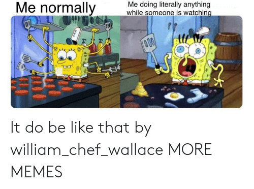 Wallace: Me normally  Me doing literally anything  while someone is watching  000 It do be like that by william_chef_wallace MORE MEMES