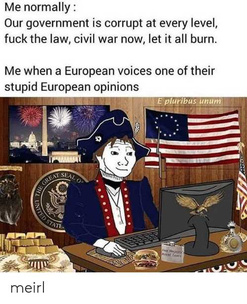 Civil War: Me normally:  Our government is corrupt at every level,  fuck the law, civil war now, let it all burn.  Me when a European voices one of their  stupid European opinions  E pluribus unum  SEAL  O  HE GREAT  STATE  Her Majertys  Royal Tears  UNITED ST meirl