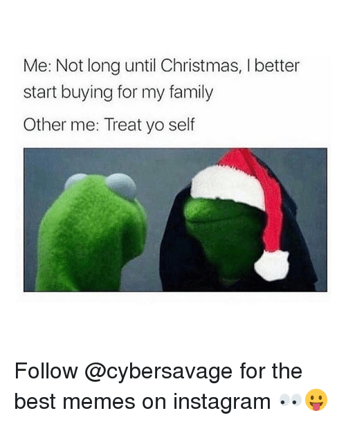 Girl, My Family, and Best Memes: Me: Not long until Christmas, l better  start buying for my family  Other me: Treat yo self Follow @cybersavage for the best memes on instagram 👀😛