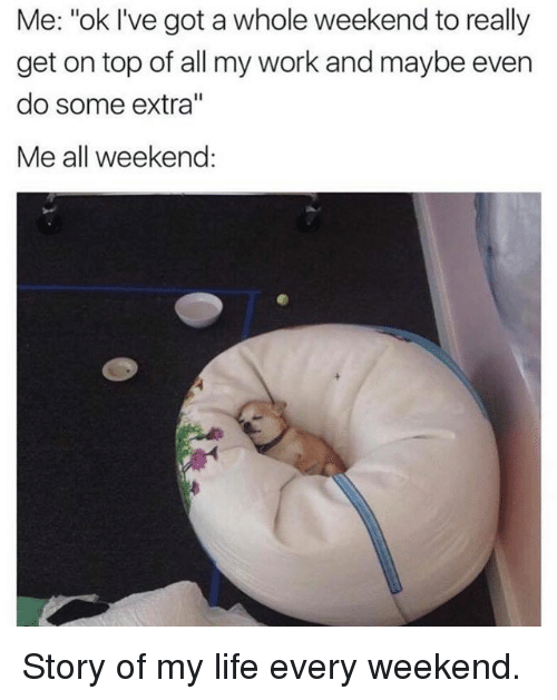 "Memes, 🤖, and Story of My Life: Me: ""ok I've got a whole weekend to really  get on top of all my work and maybe even  do some extra''  Me all weekend Story of my life every weekend."