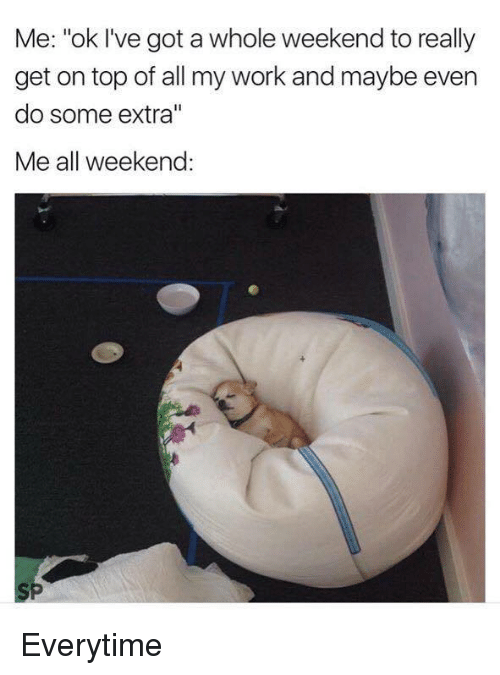 """Everytim: Me: """"ok I've got a whole weekend to really  get on top of all my work and maybe even  do some extra""""  Me all weekend: Everytime"""
