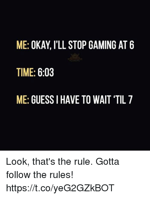 Video Games, Guess, and Okay: ME: OKAY, l'LL STOP GAMING AT 6  TIME: 6:03  ME: GUESS I HAVE TO WAIT 'TIL Look, that's the rule. Gotta follow the rules! https://t.co/yeG2GZkBOT