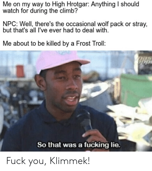 wolf pack: Me on my way to High Hrotgar: Anything I should  watch for during the climb?  NPC: Well, there's the occasional wolf pack or stray,  but that's all I've ever had to deal with  Me about to be killed by a Frost Troll:  So that was a fucking lie. Fuck you, Klimmek!