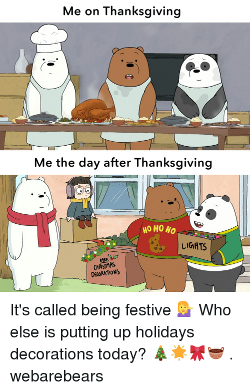 After Thanksgiving: Me on Thanksgiving  Me the day after Thanksgiving  HO HO HO  LIGHTS  ARK  CHRISTMAS  DEORATIONS It's called being festive 💁 Who else is putting up holidays decorations today? 🎄🌟🎀🧺 . webarebears