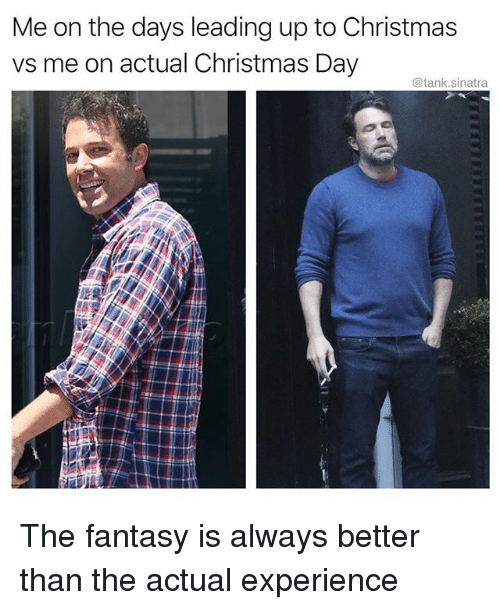 Christmas, Funny, and Experience: Me on the days leading up to Christmas  vs me on actual Christmas Day  @tank.sinatra The fantasy is always better than the actual experience