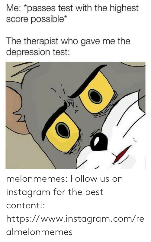 therapist: Me: *passes test with the highest  score possible*  The therapist who gave me the  depression test: melonmemes:  Follow us on instagram for the best content!: https://www.instagram.com/realmelonmemes