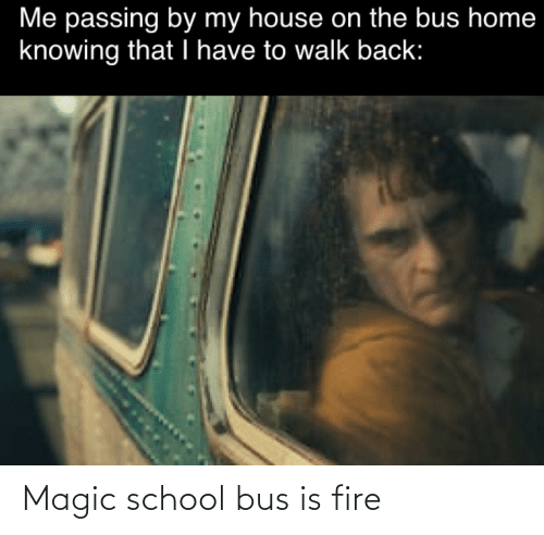 magic school bus: Me passing by my house on the bus home  knowing that I have to walk back: Magic school bus is fire
