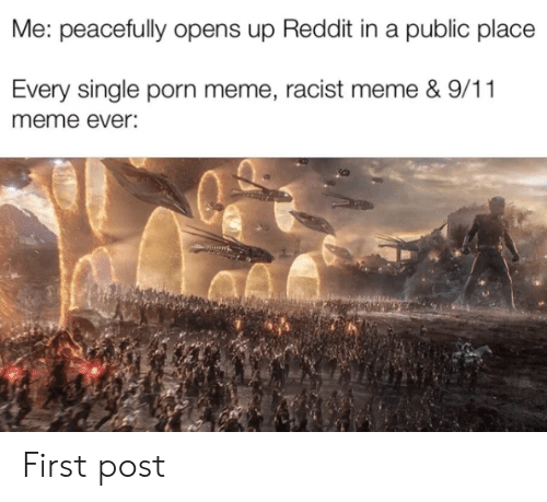 Racist Meme: Me: peacefully opens up Reddit in a public place  Every single porn meme, racist meme & 9/11  meme ever: First post