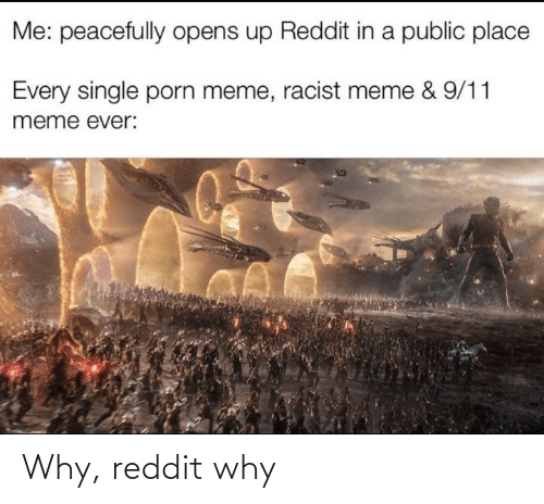 Racist Meme: Me: peacefully opens up Reddit in a public place  Every single porn meme, racist meme & 9/11  meme ever: Why, reddit why