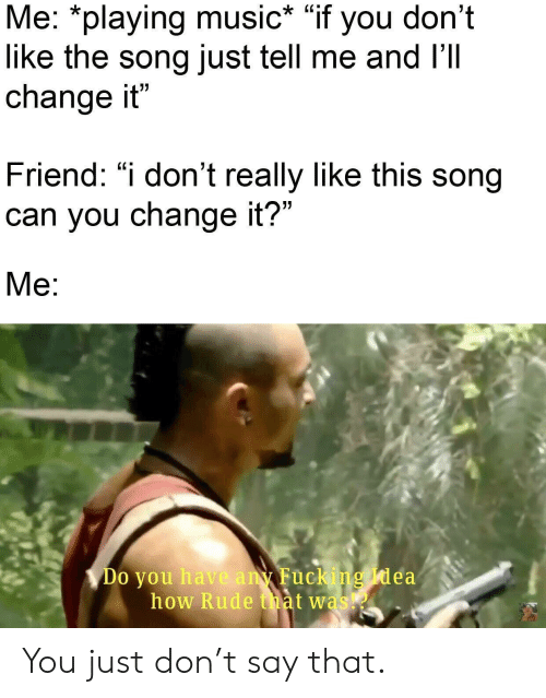 """Playing Music: Me: *playing music* """"if you don't  like the song just tell me and I'Il  change it""""  Friend: """"i don't really like this song  can you change it?""""  Me:  Do you have any Fucking Idea  how Rude that was You just don't say that."""