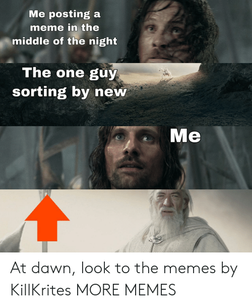 Dawn: Me posting a  meme in the  middle of the night  The one guy  sorting by new  Me At dawn, look to the memes by KillKrites MORE MEMES