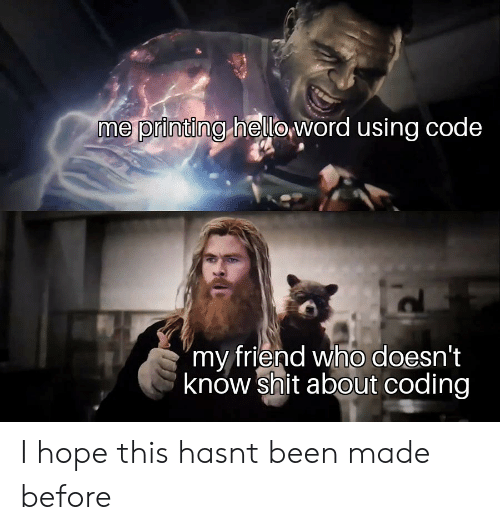 """Printing: me printing heloword using code  """"my friend who doesn't  know shit about coding I hope this hasnt been made before"""