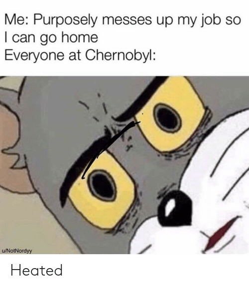 Heated: Me: Purposely messes up my job so  I can go home  Everyone at Chernobyl:  u/NotNordyy Heated
