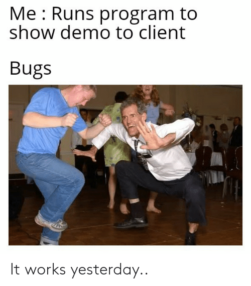 demo: Me Runs program to  show demo to client  Bugs It works yesterday..