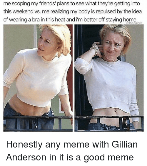 Friends, Meme, and Gillian Anderson: me scoping my friends' plans to see what they're getting into  this weekend vs. me realizing my body is repulsed by the idea  of wearing a bra in this heat and i'm better off staying home Honestly any meme with Gillian Anderson in it is a good meme