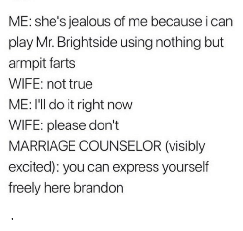 farts: ME: she's jealous of me because i can  play Mr. Brightside using nothing but  armpit farts  WIFE: not true  ME: I'll do it right now  WIFE: please don't  MARRIAGE COUNSELOR (visibly  excited): you can express yourself  freely here brandon .