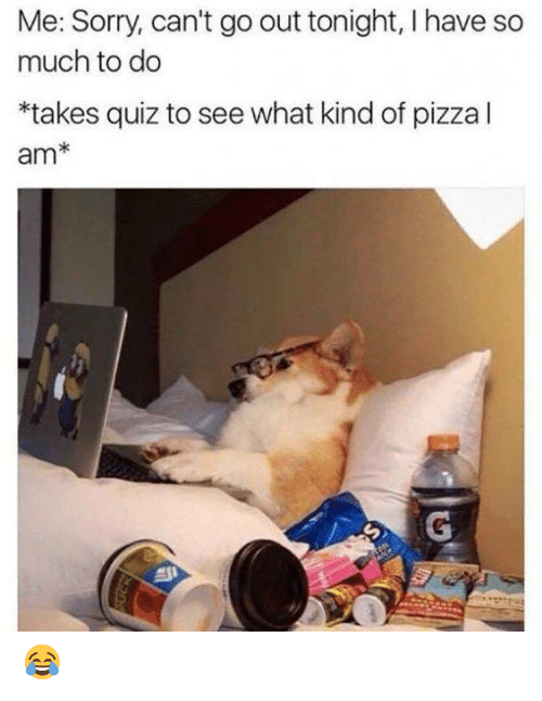 out tonight: Me: Sorry, can't go out tonight, I have so  much to do  *takes quiz to see what kind of pizza l  am* 😂