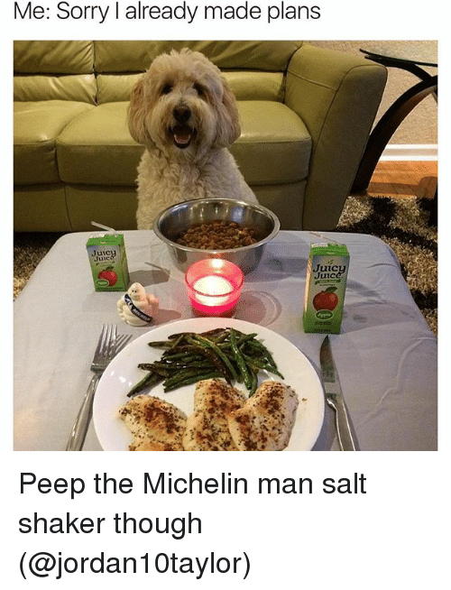 Funny, Salt, and Michelin: Me: Sorry l already made plans  Me: made Juic  Juic Peep the Michelin man salt shaker though (@jordan10taylor)