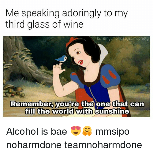 glassing: Me speaking adoringly to my  third glass of wine  G: omy mom soys im pretty  Remember, you're the one that can  fill the world with sunshine Alcohol is bae 😍🤗 mmsipo noharmdone teamnoharmdone