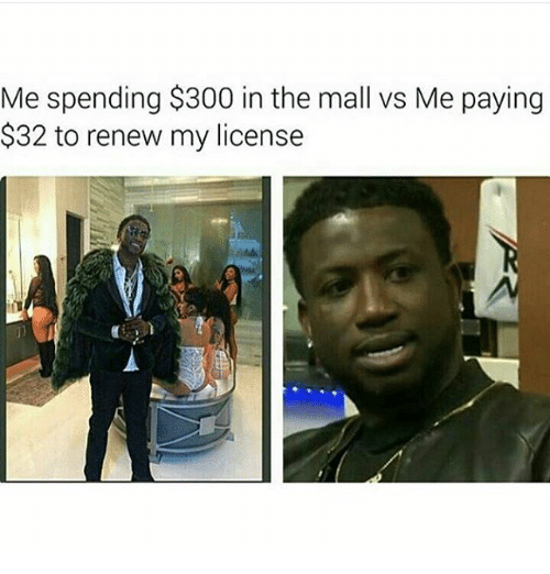 Memes, 300, and 🤖: Me spending $300 in the mall vs Me paying  $32 to renew my license