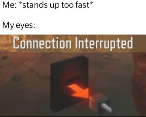 Interrupted: Me: *stands up too fast*  My eyes:  Connection Interrupted