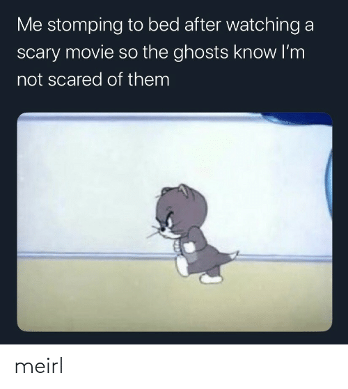 ghosts: Me stomping to bed after watching a  scary movie so the ghosts know I'm  not scared of them meirl