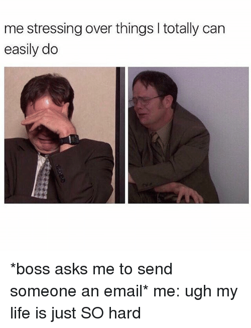 Girl Memes, Boss, and Hardness: me stressing over things l totally can  easily do *boss asks me to send someone an email* me: ugh my life is just SO hard