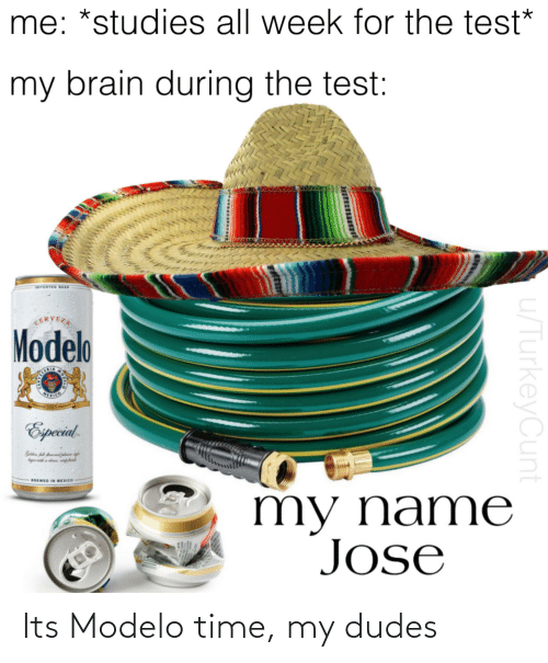 Cerveza: me: *studies all week for the test*  my brain during the test:  IMPORTED BEER  CERVEZA  Modelo  REXICO  1925  Especil.  BREWED IN MEXICO  my name  Jose  u/TurkeyCunt Its Modelo time, my dudes