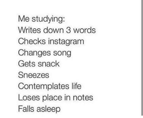 sneezes: Me studying:  Writes down 3 words  Checks instagram  Changes song  Gets snack  Sneezes  Contemplates life  Loses place in notes  Falls asleep