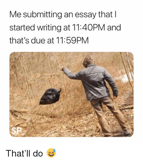 Essay,  Writing, and And: Me submitting an essay that l  started writing at 11:40PM and  that's due at 11:59PM  SP That'll do 😅