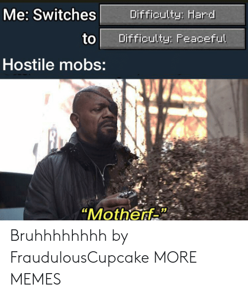 "mobs: Me: Switches  Difficulty: Hard  to  Difficulty: Feaceful  Hostile mobs:  ""Motherf Bruhhhhhhhh by FraudulousCupcake MORE MEMES"