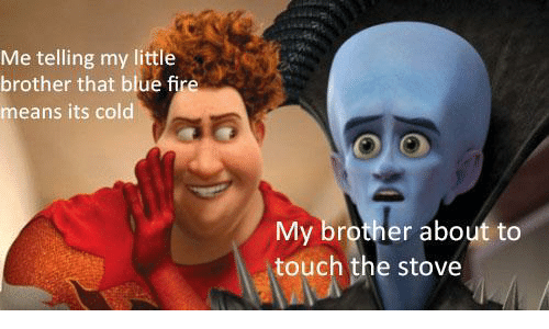 it's cold: Me telling my little  brother that blue fire  means its cold  My brother about to  touch the stove